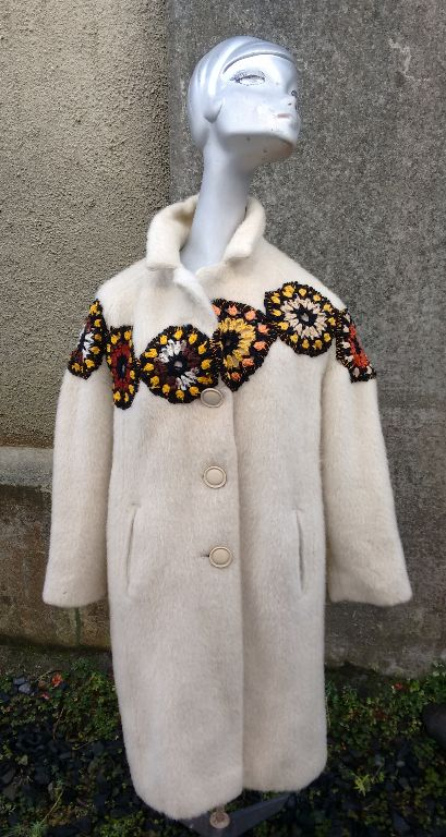 Up-cycled llama coat with peggy squares. _ Sold.